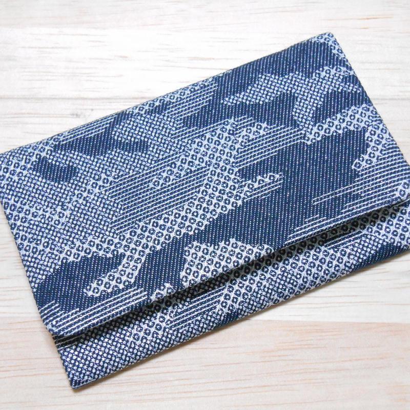銀ラメデニム製 名刺入れ カードケース カモフラ 迷彩 銀 京都城陽銀糸