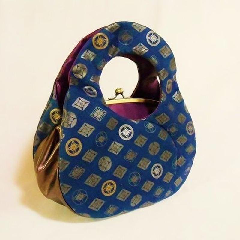 可愛らしいあおり型手提げバッグ 七宝 チノクロス・本革製 墨銀・金・銀