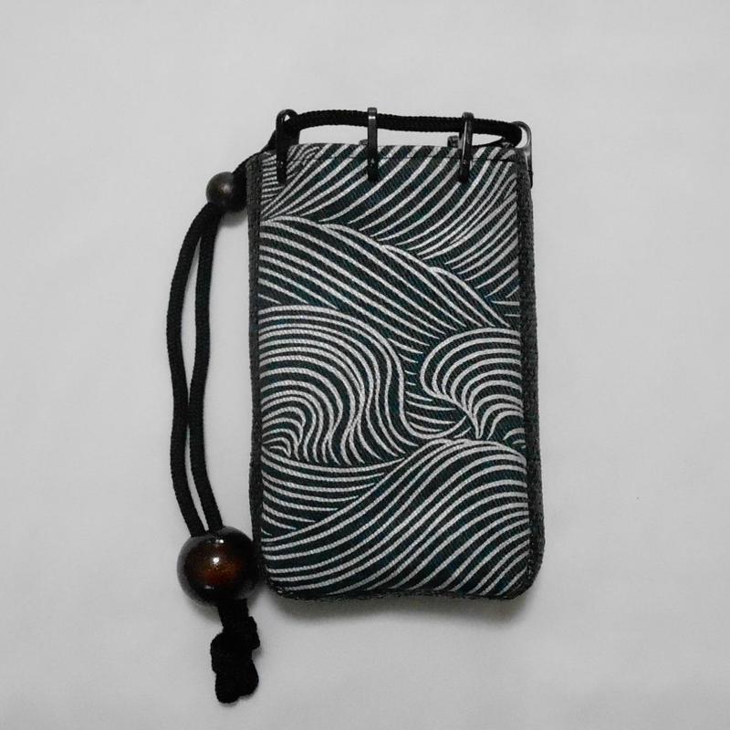 デニム濃紺製 モバイルケース(煙草入れ)大 波 銀