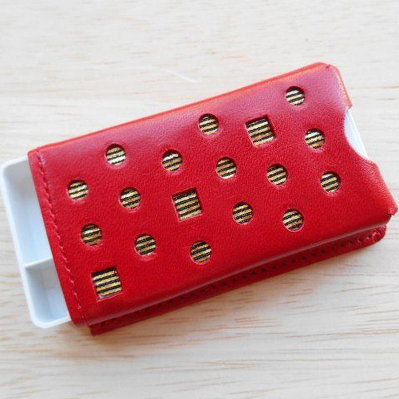 本革製 フリスクケース 赤 ホログラム金