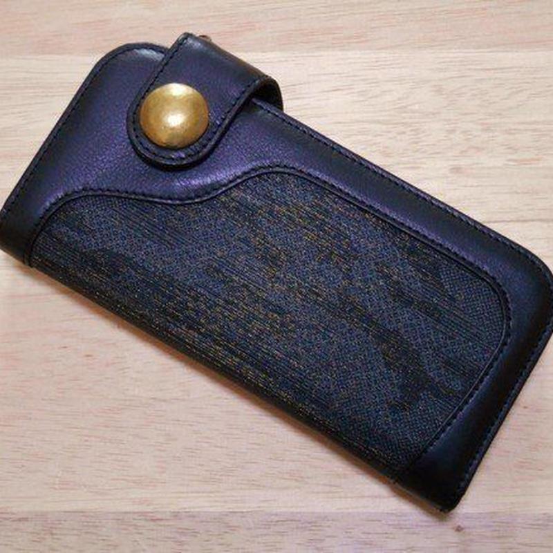 本革製 長財布 カモフラ 迷彩 墨銀色 西陣織 TALON42 ブラス 真鍮 コンチョ