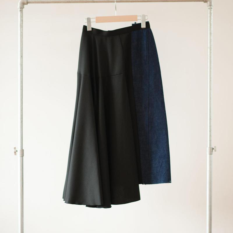 AMBELL アンベル デニム×布帛のアシンメトリースカート