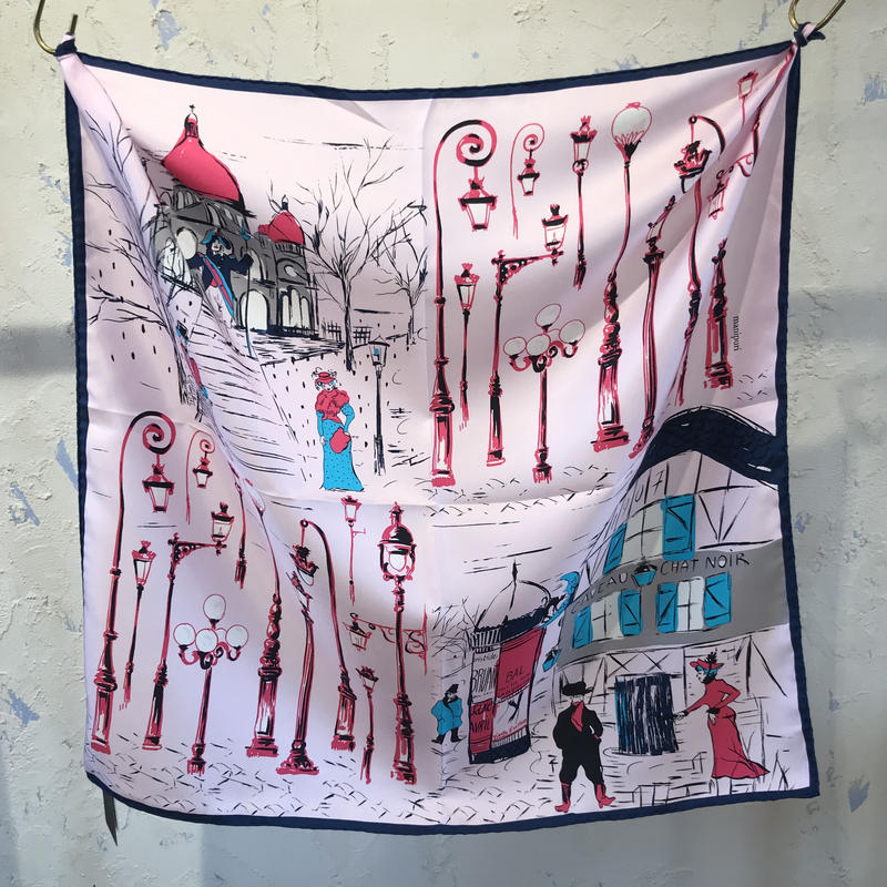 manipuri18  silk scarf CHAT   65×65/マニプリシルクスカーフ