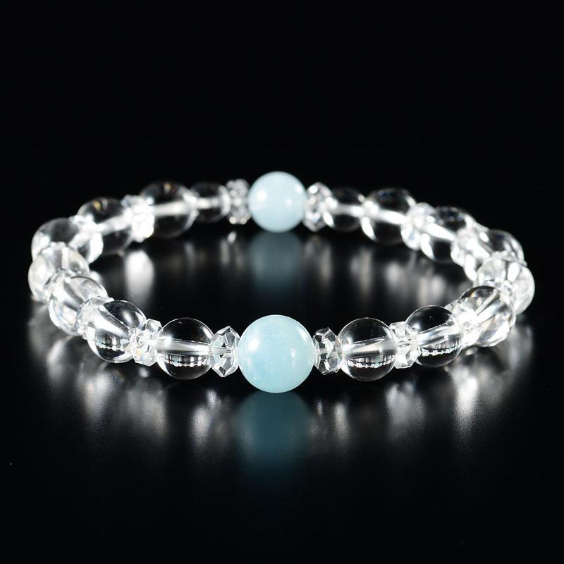 復縁ブレス①水晶+アクアマリン