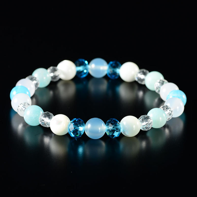 復縁ブレス④アマゾナイト+メノウ+マザーオブパール+ 本水晶+クリスタルガラス