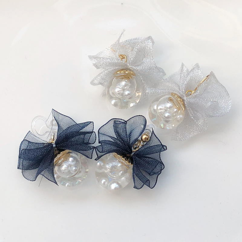 tutu ribbon dome*natural×pearl