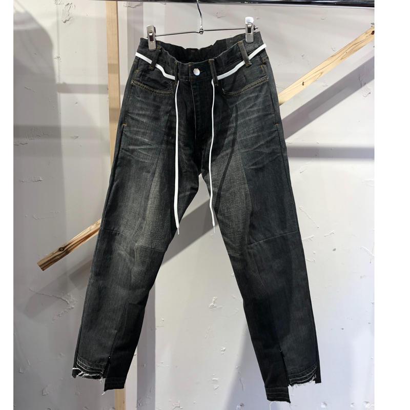 ist design project  switching curve panel slit denim pants J