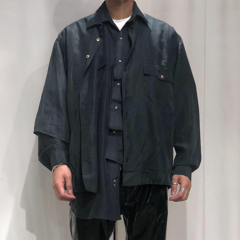 ist design project  asymmetry layered silk shirt D