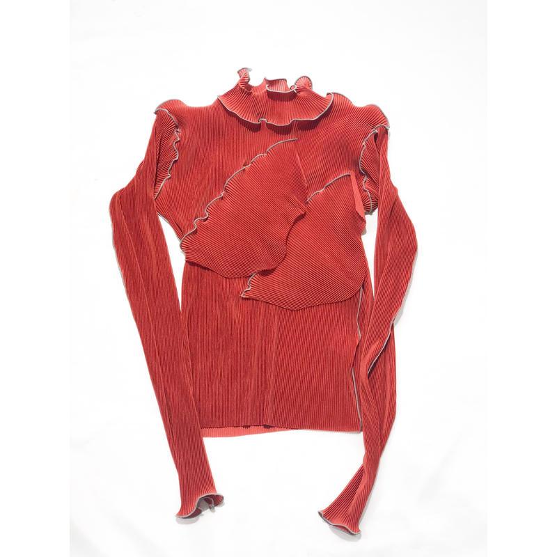 kotohayokozawa  /   pleats tops long- sleeve,High-neck   /TDKT-P06