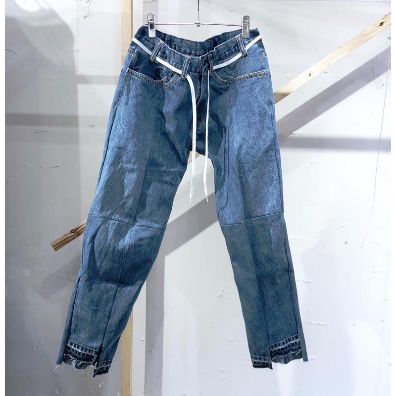 ist design project  switching curve panel slit denim pants F