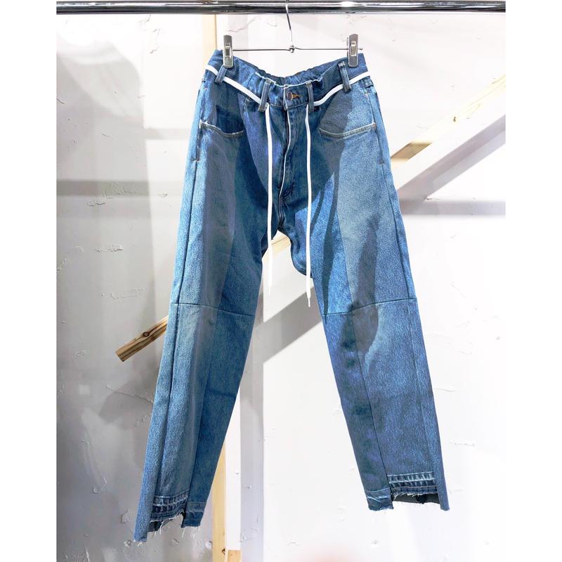 ist design project  switching curve panel slit denim pants B