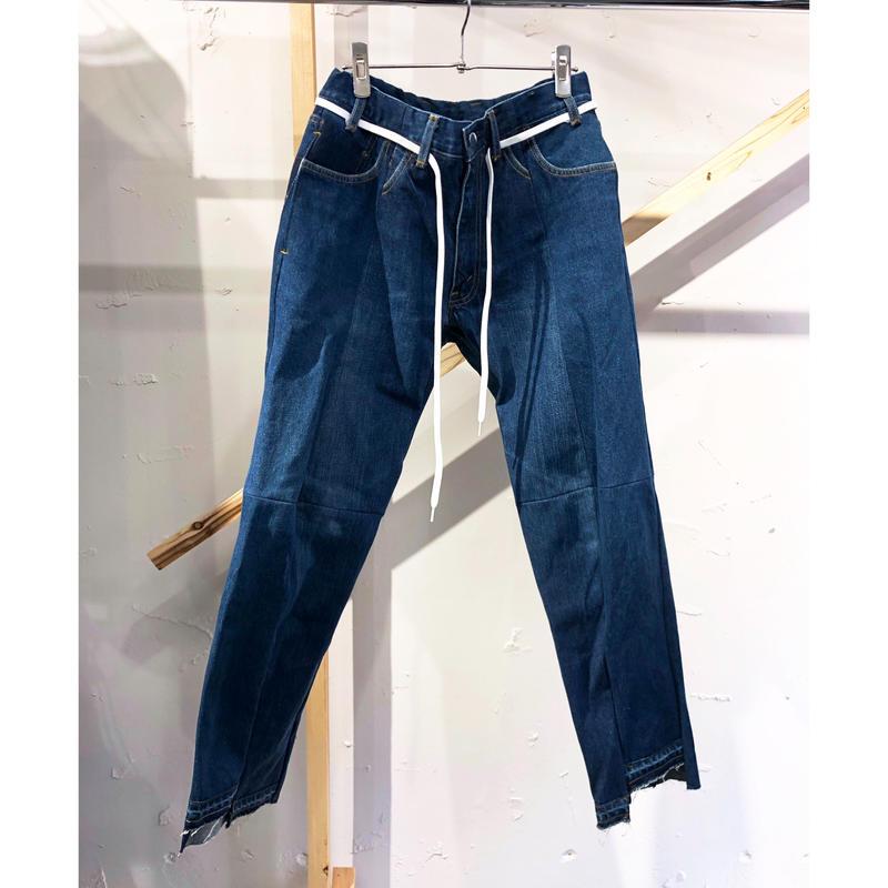 ist design project  switching curve panel slit denim pants  A