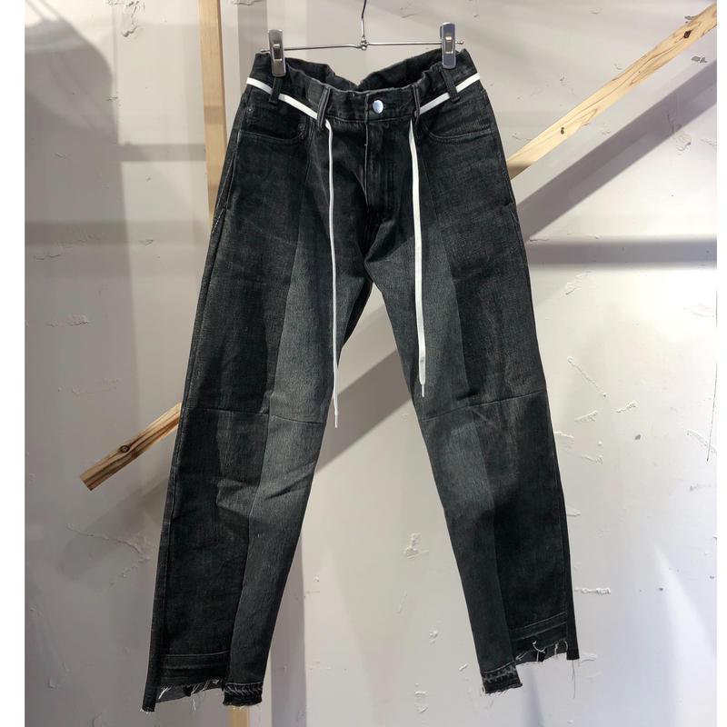 ist design project  switching curve panel slit denim pants H