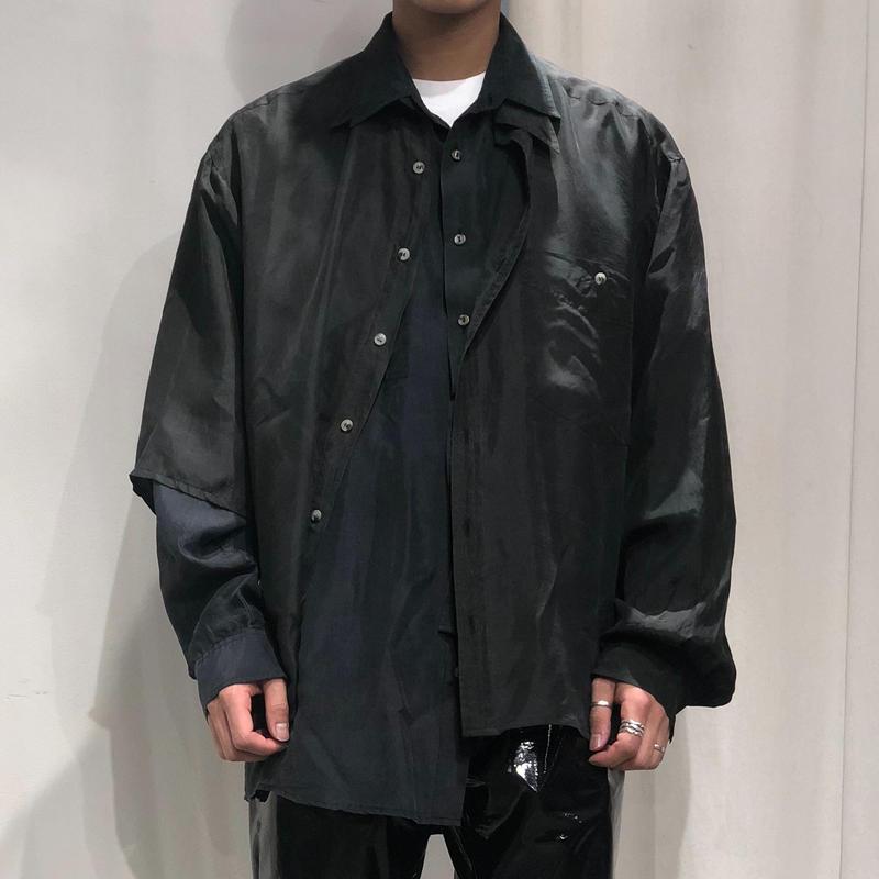 ist design project asymmetry layered silk shirt E