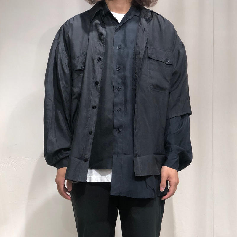 ist design project asymmetry layered silk shirt B