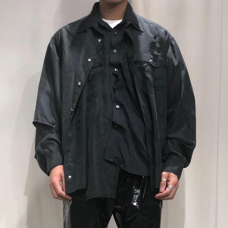 ist design project asymmetry  layered silk shirt F