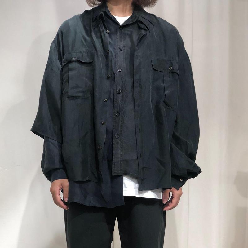 ist design project asymmetry layere silk shirt C