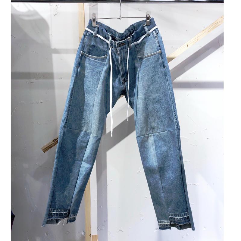 ist design project  switching curve panel slit denim pants E