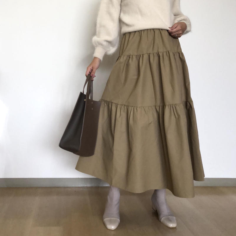 volume tired skirt-beige-
