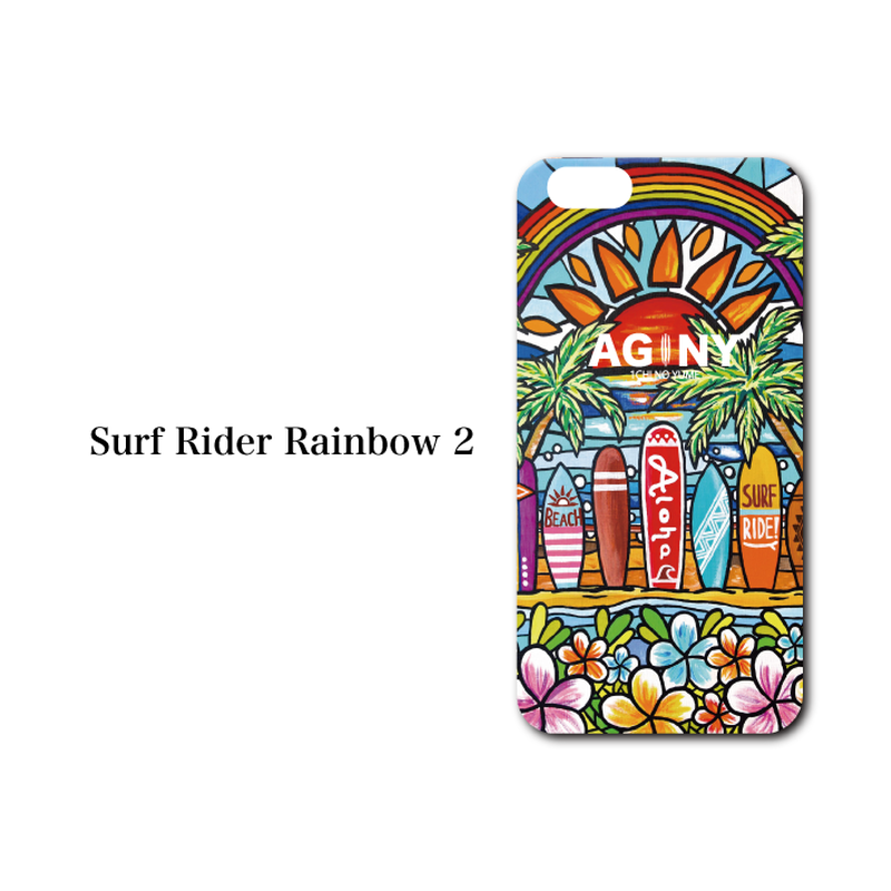 "iPhone 6/6S/7/8 Plus  XsMax対応   ハードケースカバー ""Surf Rider Rainbow 2"""