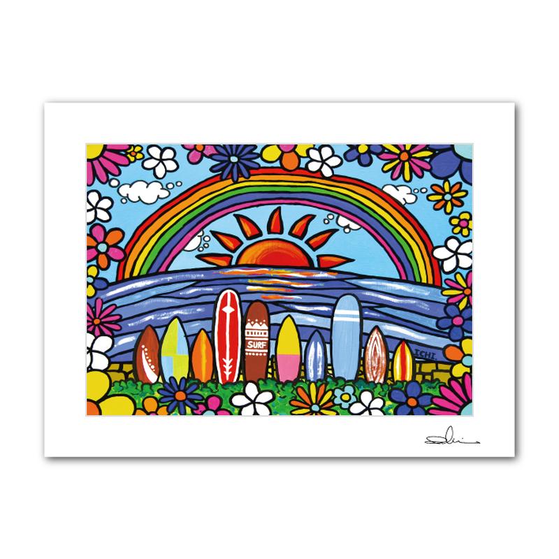 """A4 ArtPrint マットフレーム """"Surf Rider Rainbow"""""""