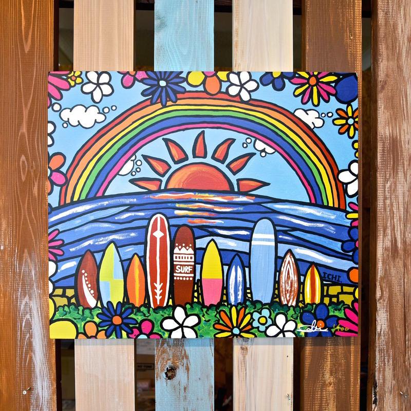 """木張りキャンバスプリント F10号 """"Surf Rider Rainbow"""""""