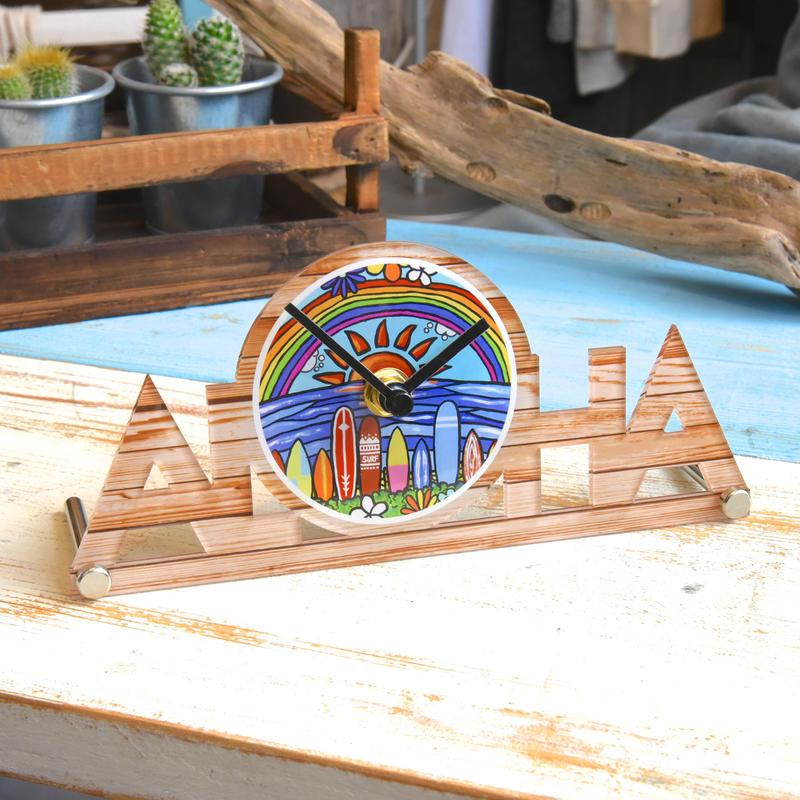 """【数量限定】ALOHA オリジナル置き時計 """"Surf Rider Rainbow"""""""