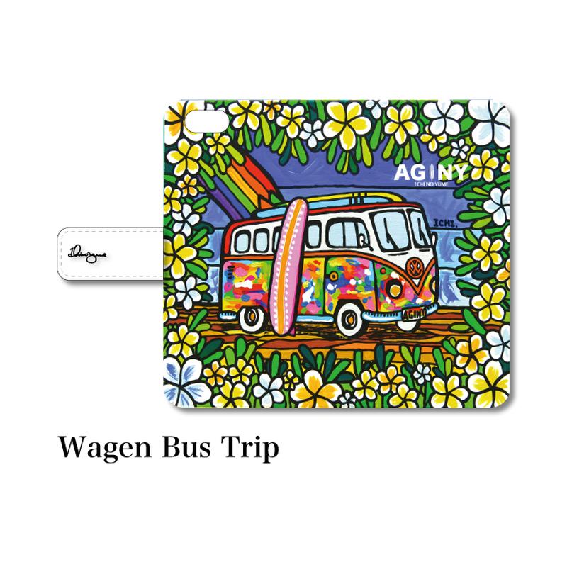 """全スマホ対応 マルチタイプ手帳型カバー """"Wagen Bus Trip"""""""
