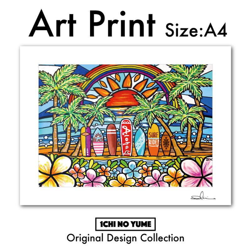 """A4 ArtPrint マットフレーム """"Surf Rider Rainbow2"""""""