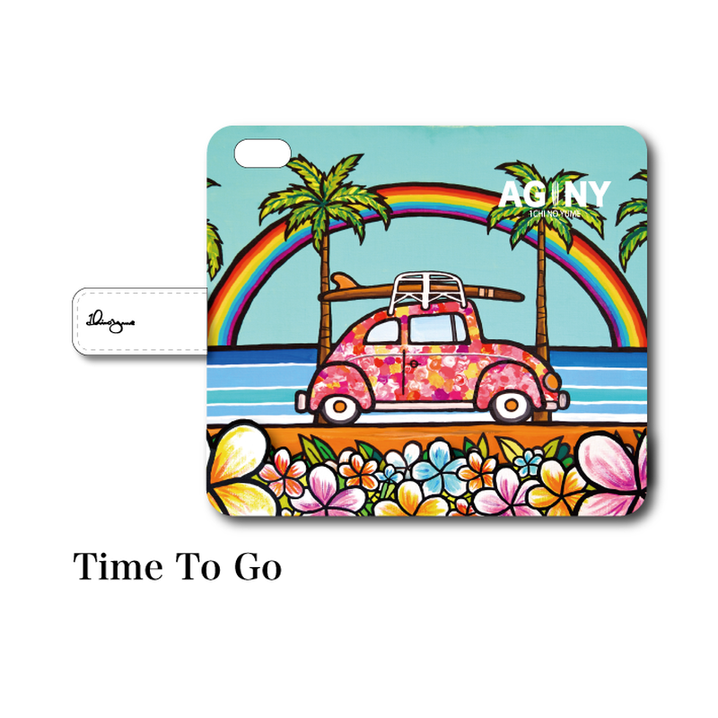 "iPhoneシリーズ対応 手帳型カバー ""Time To Go"""