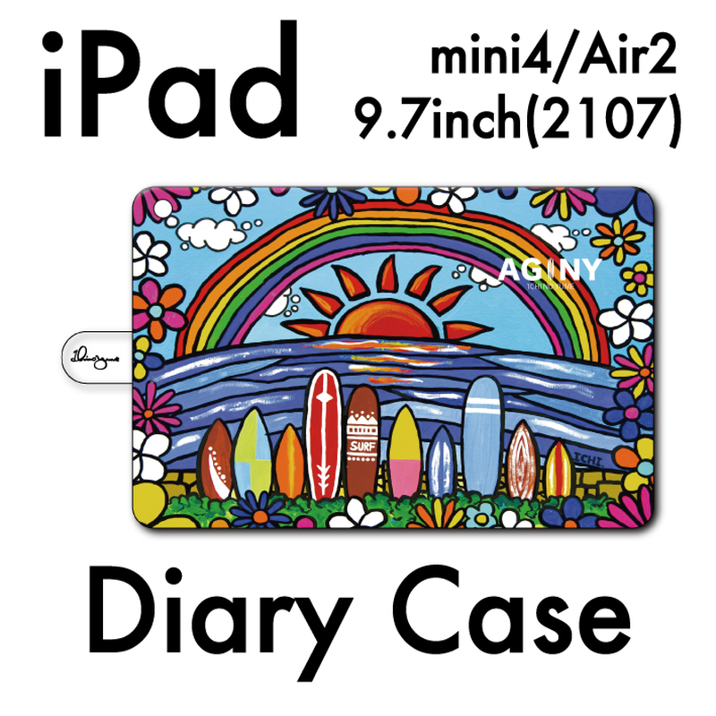"iPad mini~4/Air1.2対応 手帳型カバー ""Surf Rider Rainbow"""
