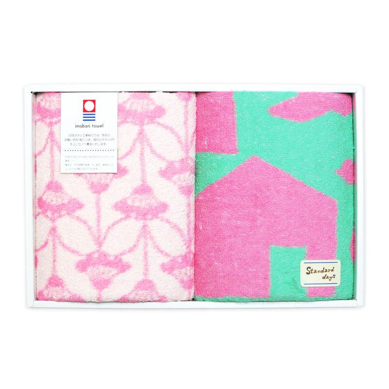 フェイスタオルセット standard days『FLOWER/HOME(pink)』