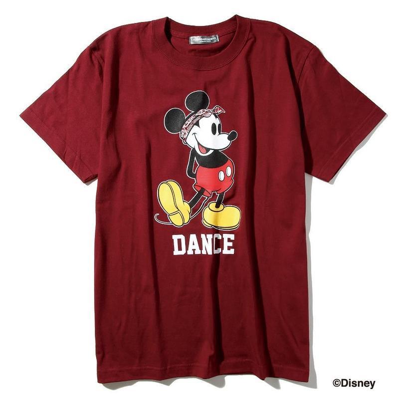 ダンスミッキーマウスTシャツ(ワインレッド)