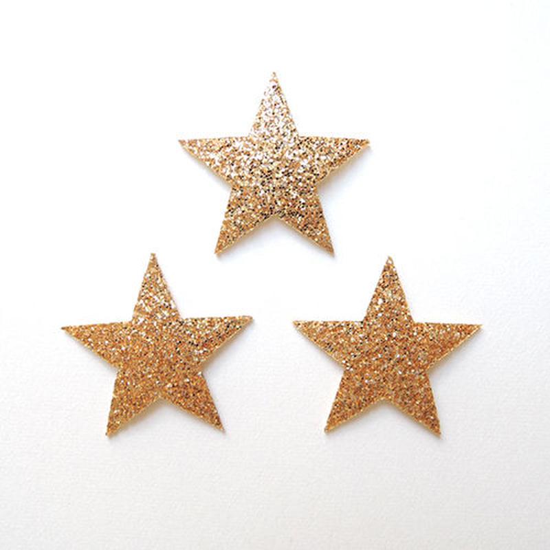 星・ラメゴールド(ワッペン)【3枚セット】