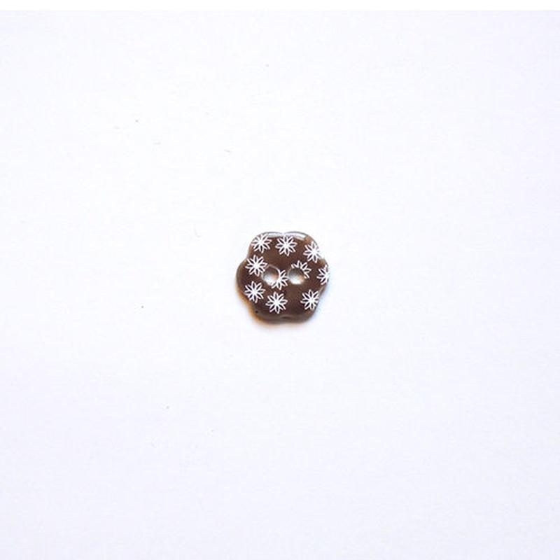 フラワー型シェルボタン 12mm (JB109179 ブラウン)