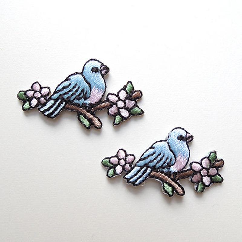青い鳥と花(ワッペン)【2枚セット】