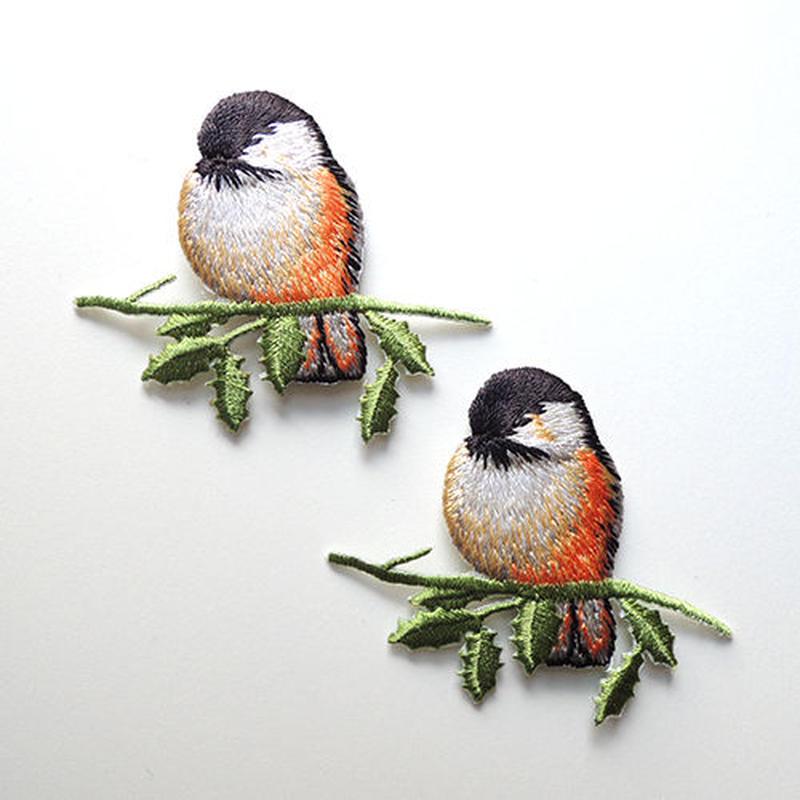 オレンジの鳥・正面(ワッペン)【2枚セット】
