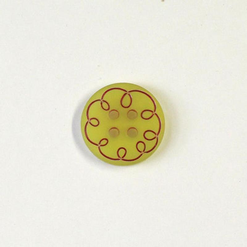 カーリーライン4つ穴ボタン (JB794019 /15mm グリーン)