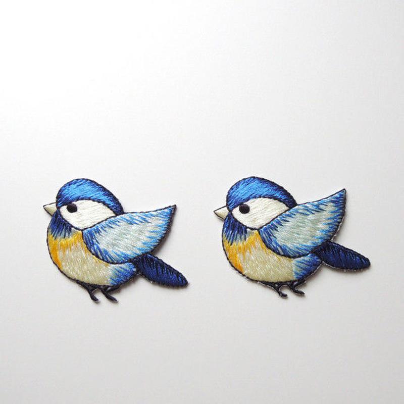 とぶ青い鳥(ワッペン)【2枚セット】