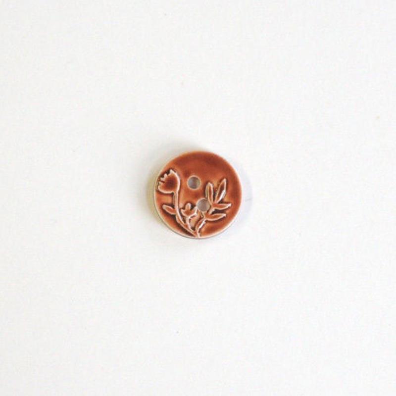 フラワーレリーフボタン (JB736307 12mm ブラウン)