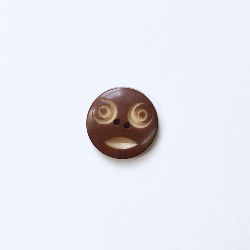 vintage スマイルボタン Lサイズ (ブラウン)