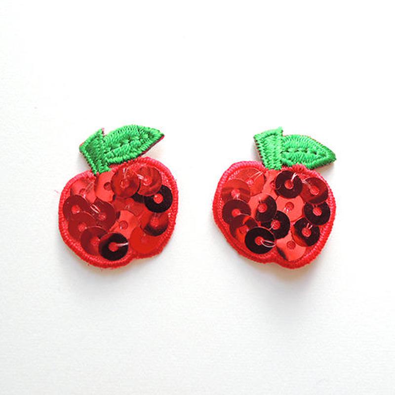 スパンコール・リンゴ(ワッペン)【2枚セット】