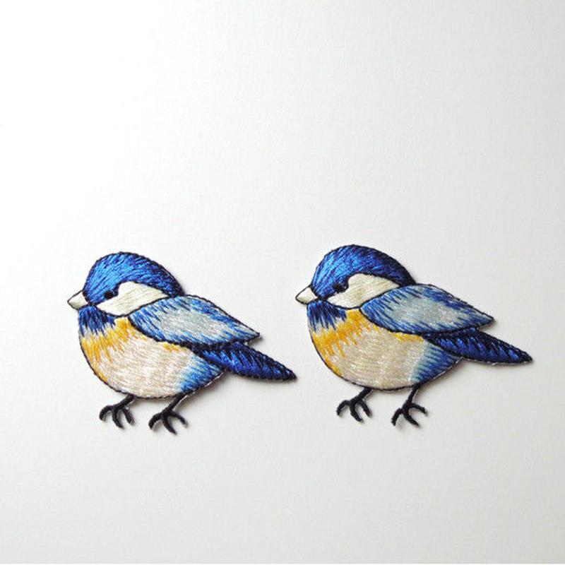 とまる青い鳥(ワッペン)【2枚セット】