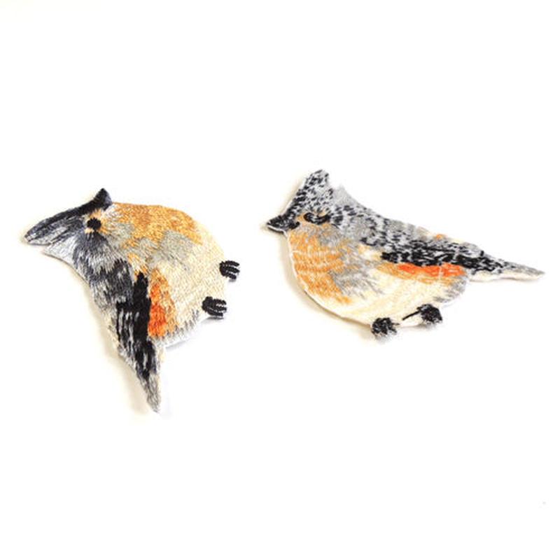 グレーの鳥(ワッペン)【2枚セット】