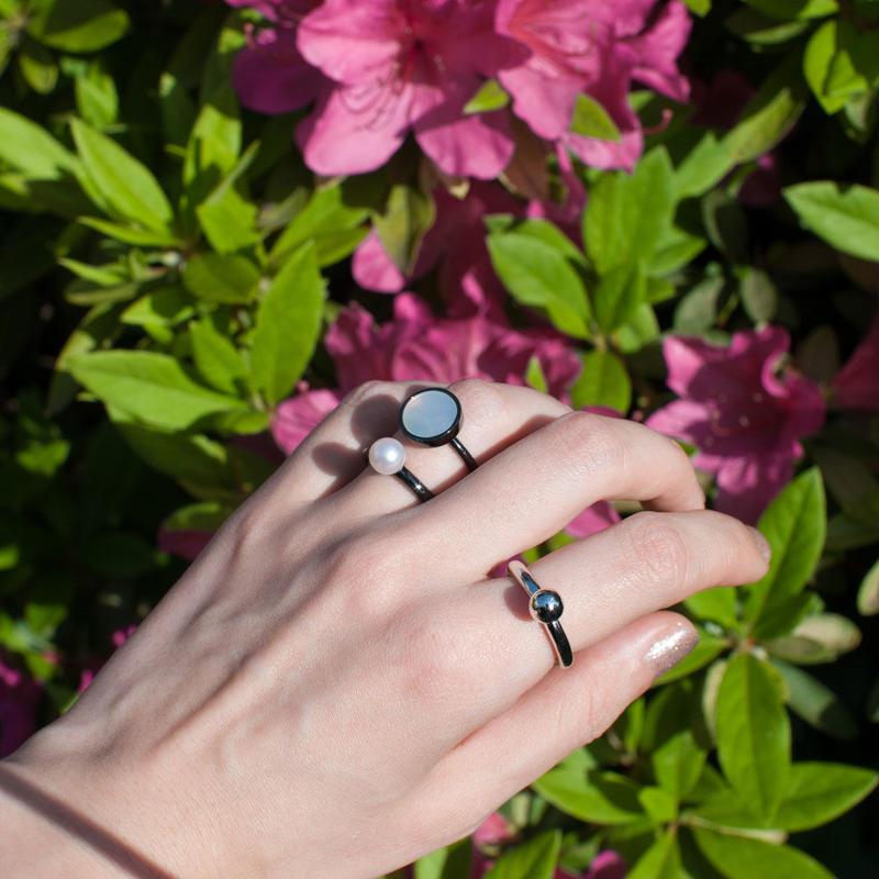ring [bold]  淡水パール(白)/black [受注制作]