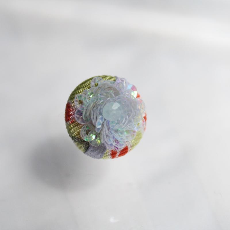 刺繍ブローチ(Kurumi和)アクアマリン(3月誕生石)