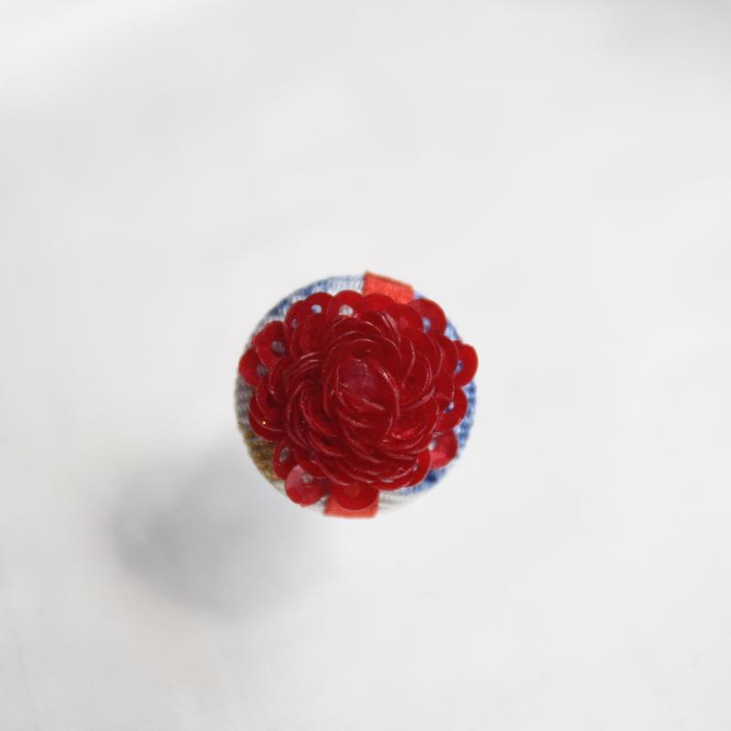 刺繍ブローチ(Kurumi和)ルビー(7月誕生石)