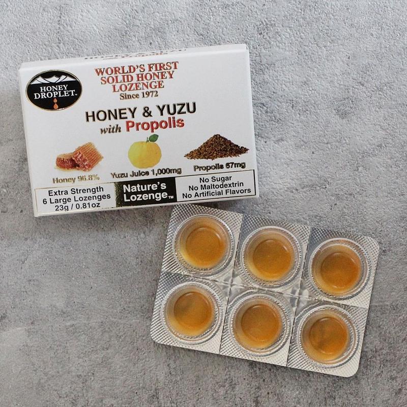 <オーガニック100%蜂蜜のど飴>ハニードロップレット【柚子&プロポリス】
