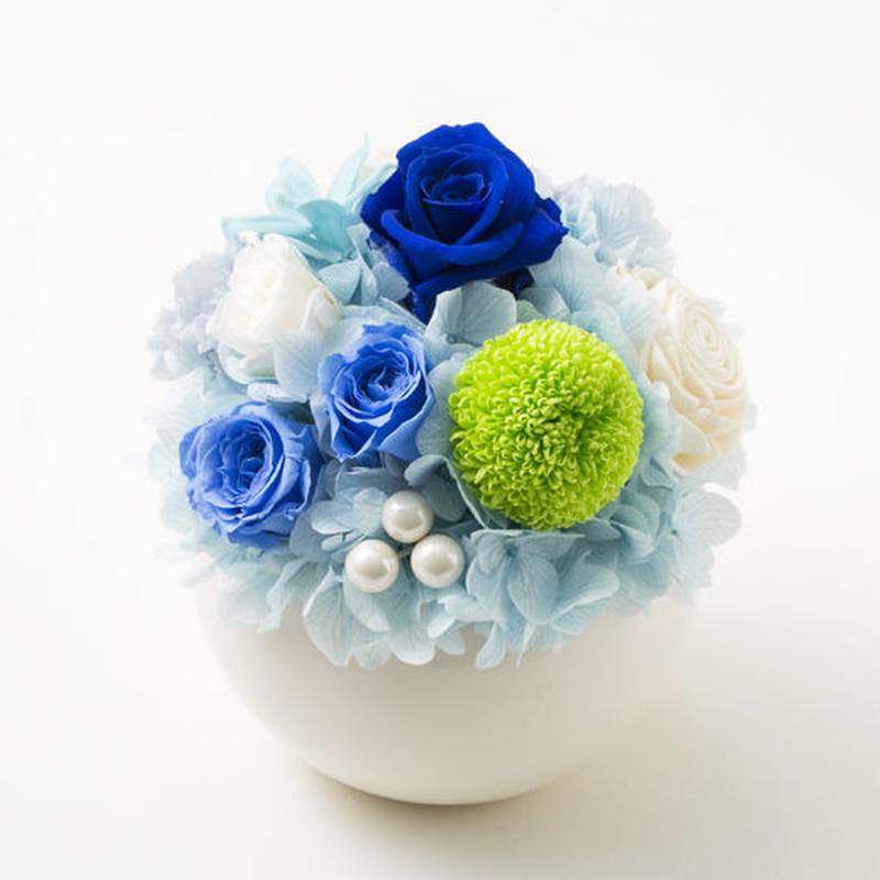 プリザーブドローズとマムのアレンジメント/ラウンド【mint blue】
