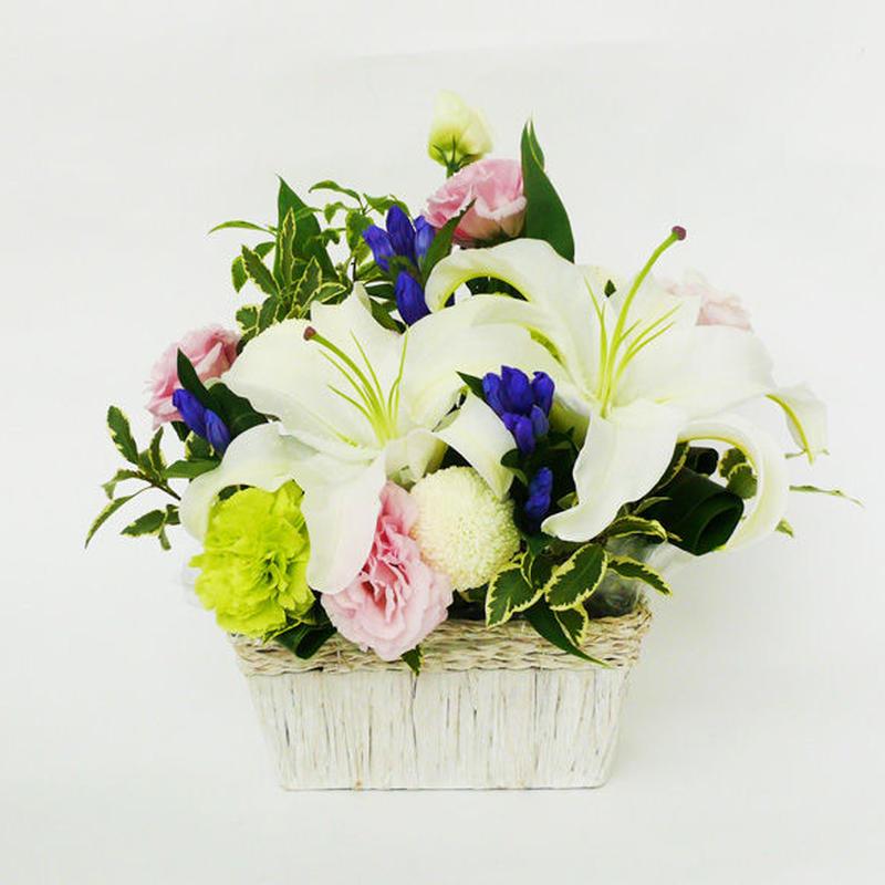【生花】メモリアル カサブランカのアレンジメント